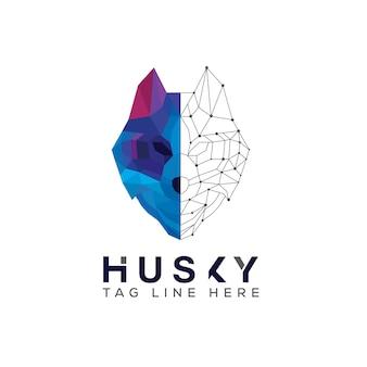 Projektowanie logo technologii maskotki psa husky, logo sportowego psa husky