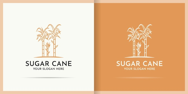 Projektowanie logo trzciny cukrowej wykorzystuje styl sztuki linii