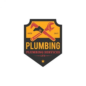 Projektowanie logo usługi hydrauliczne - nowoczesne logo - hydraulika przemysłowa domowa usługa z elementem klucza