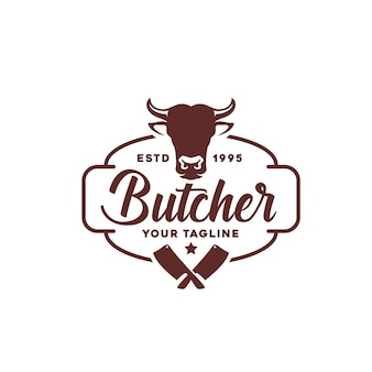 Projektowanie logo vintage retro butcher shop label