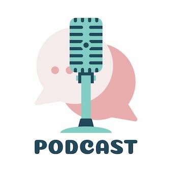 Projektowanie logo wektor rozmowy podcast. logo czatu połączone z mikrofonem podcastu.