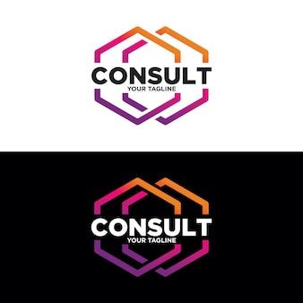 Projektowanie logo wielokątnych konsultacji, logo konsultacji, ikona technologii