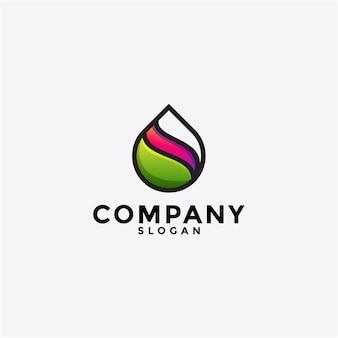 Projektowanie logo wody i liści. logotyp