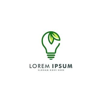 Projektowanie logo zielonej energii. eko żarówki ikona symbolu ilustracja