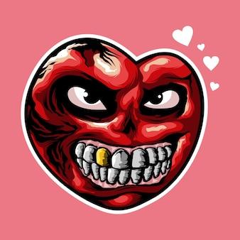 Projektowanie logo zła serce na różowym tle