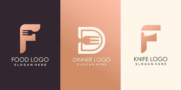 Projektowanie logo żywności litery f i d. ikona wektor