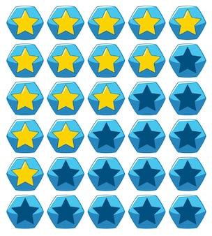 Projektowanie naklejek dla żółtych gwiazd na niebieskim sześciokątnym