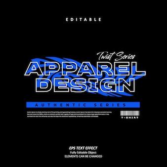 Projektowanie odzieży do druku niebieski efekt tekstu efekt edytowalny wektor premium
