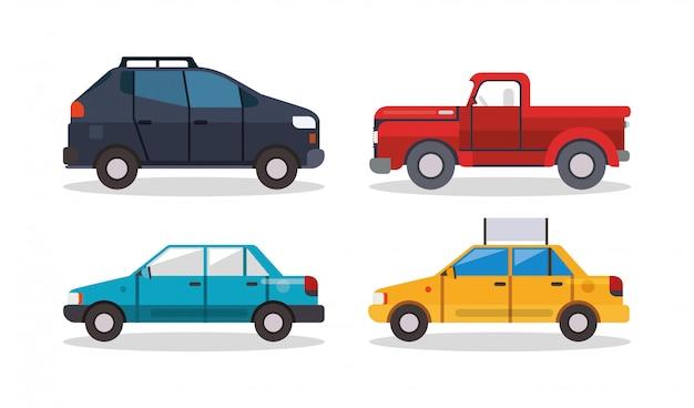 Projektowanie pickupów i taksówek, podróż transportowa miejska prędkość silnika szybka motoryzacja i motyw jazdy