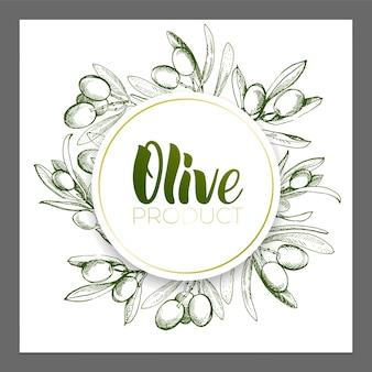Projektowanie plakatów reklamowych, pocztówek, etykiet na produkty z oliwek. napis oliwy z oliwek pędzlem.
