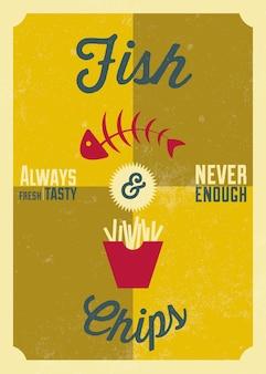 Projektowanie plakatów z ryb i chipsów