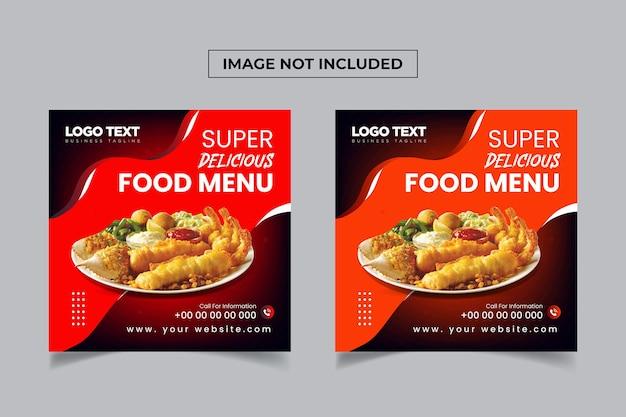 Projektowanie postów w mediach społecznościowych z pysznym jedzeniem