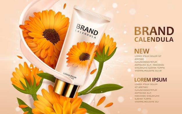 Projektowanie reklam kosmetycznych ilustracji 3d z szablonem produktu i kwiatami