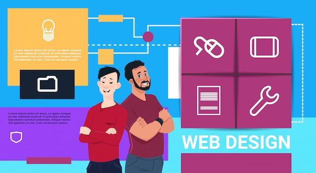Projektowanie stron internetowych prezentacja technologii mieszanka dwóch ludzi wyścig nad interfejsem ikona strona pomysły pomysły informacje koncepcja kopia przestrzeń transparent mieszkanie