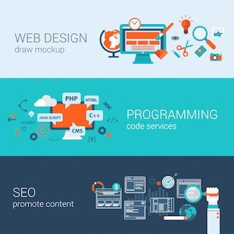 Projektowanie stron internetowych programowanie seo koncepcja płaska konstrukcja ilustracje zestaw elementów infografiki.