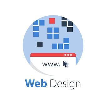 Projektowanie stron internetowych, technologia internetowa, tworzenie oprogramowania, usługi hostingowe, rozwiązania online, ilustracja
