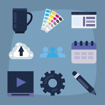 Projektowanie stron internetowych zestaw dziewięciu ikon