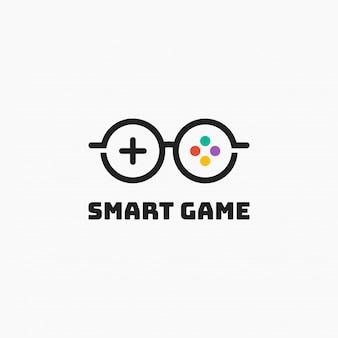 Projektowanie szablonów logo inteligentnej gry. ilustracja. streszczenie gry i okulary połączenie web ikony i logo.