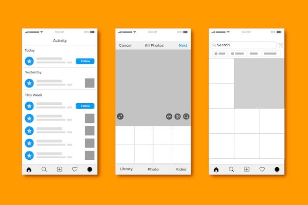 Projektowanie szablonu interfejsu profilu instagram