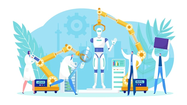 Projektowanie technologii robotyki przez zespół ludzi.
