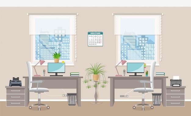Projektowanie wnętrz biurowych z dwoma miejscami pracy bez ludzi. pomieszczenie biurowe bez ludzi.