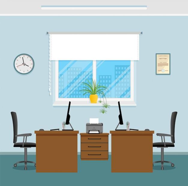 Projektowanie wnętrz biurowych z dwoma miejscami pracy bez ludzi. pracujący szablon wewnętrzny pokój w korporacyjnym budynku.