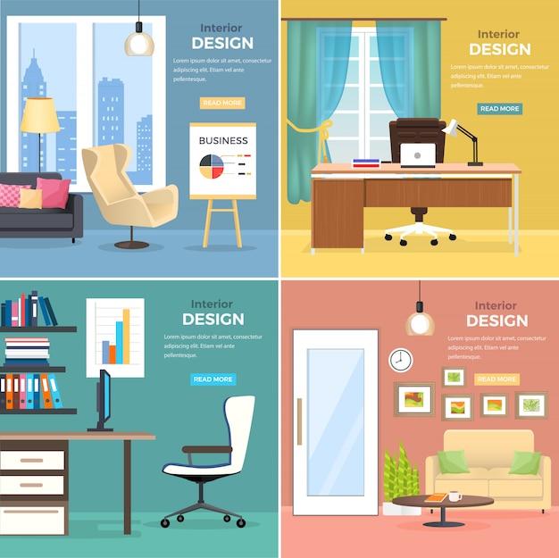 Projektowanie wnętrz czterech pomieszczeń biurowych z nowoczesnym internetowym banerem meblowym. dwa studia z drewnianymi stołami, wygodnymi krzesłami i komputerem oraz dwa pokoje z sofami, okrągłym stolikiem i stojakiem