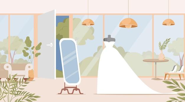 Projektowanie wnętrz sklepu ślubnego z płaską ilustracją sukni panny młodej
