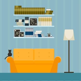Projektowanie wnętrz w stylu płaski. wnętrze z pomarańczową kanapą i kotem.
