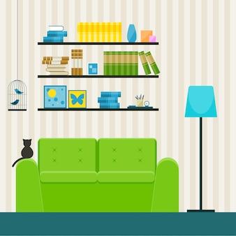 Projektowanie wnętrz w stylu płaski. wnętrze z zieloną kanapą i kotem