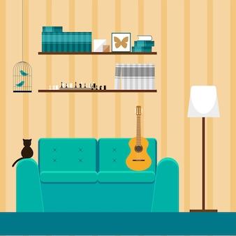Projektowanie wnętrz w stylu płaski. wnętrze z zieloną kanapą, kotem i gitarą