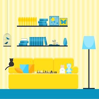Projektowanie wnętrz w stylu płaski. wnętrze z żółtą kanapą, zabawkami i kotem