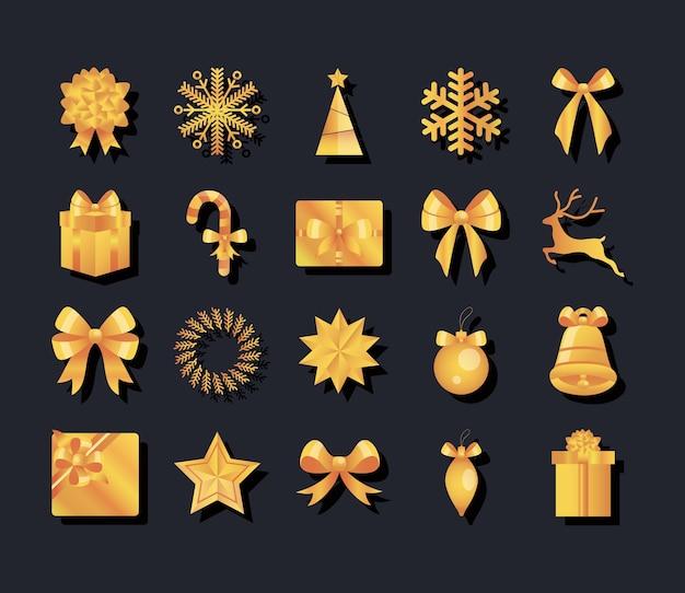 Projektowanie złotych ikon bożego narodzenia ustawionych na czarnym tle, ilustracji wektorowych