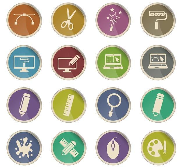 Projektuj ikony internetowe w formie okrągłych etykiet papierowych