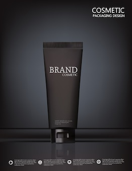 Projektuje kosmetyków produktu reklamę na czarnym tle.
