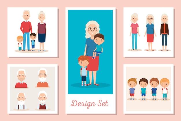 Projektuje Scenki Dziadków Z Wnukami Premium Wektorów