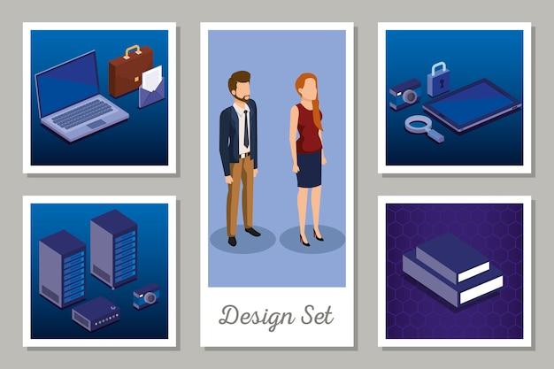 Projektuje zestaw technologii cyfrowych i ludzi biznesu