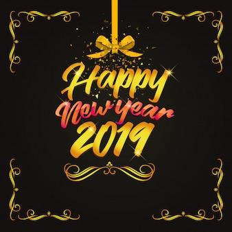 Projektuje złocistego szczęśliwego nowego roku 2019