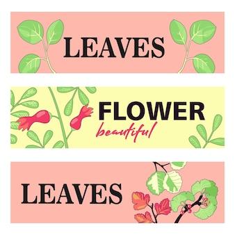 Projekty banerów promocyjnych z liśćmi i kwiatami.