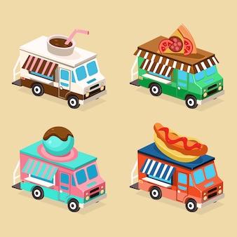 Projekty ciężarówek z jedzeniem. zestaw płaskich ilustracji.