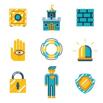 Projekty graficzne - zestaw symboli bezpieczeństwa i ubezpieczenia w kolorze pomarańczowym i niebieskim zielonym na białym tle.