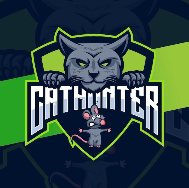 Projekty logo łowcy kotów z postacią maskotki kota i myszy do gry i logo zwierząt