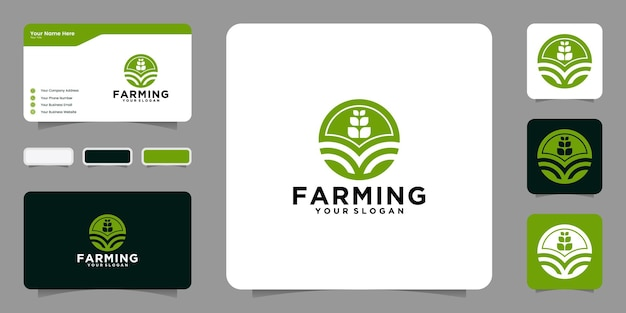 Projekty logo, symbole i wizytówki farmy pszenicy