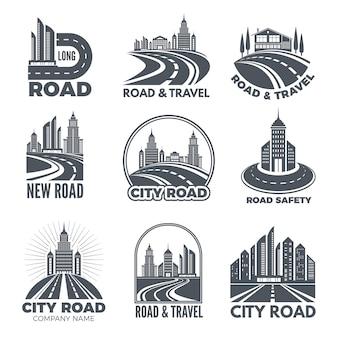 Projekty logo z ilustracjami dróg i budynków
