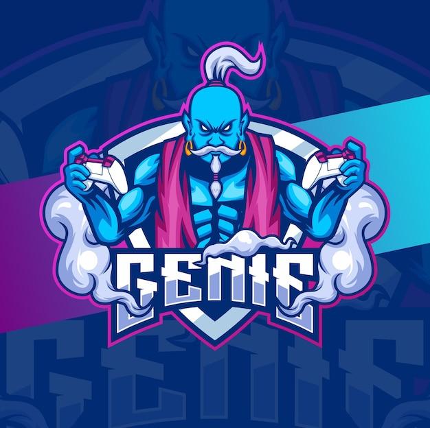 Projekty maskotek postaci dżina do gier z logo i e-sportu