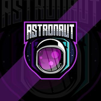 Projekty szablonów logo maskotki astronauta esport