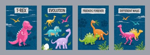Projekty ulotek reklamowych z różnymi zabawnymi dinozaurami