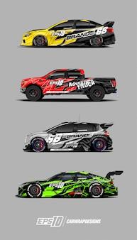 Projekty zestawów naklejek samochodów wyścigowych
