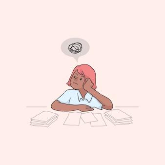 Prokastynacyjny charakter stos ilustracji koncepcji pracy