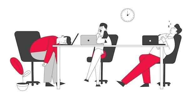 Prokrastynujący i leniwi pracownicy biznesmeni śpią